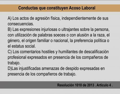 Conductas que constituyen acoso laboral